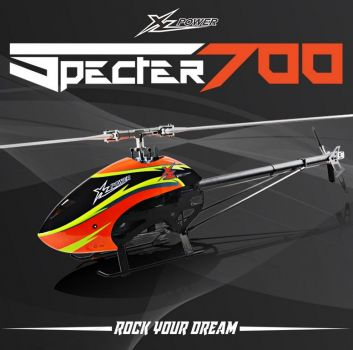 XLpower - Specter 700 + Rotortech 690 + 105mm XLPower CF Heckblätter Combo - Orange Haube